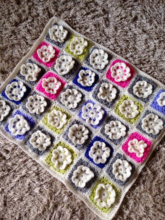 Flower granny square baby blanket .....
