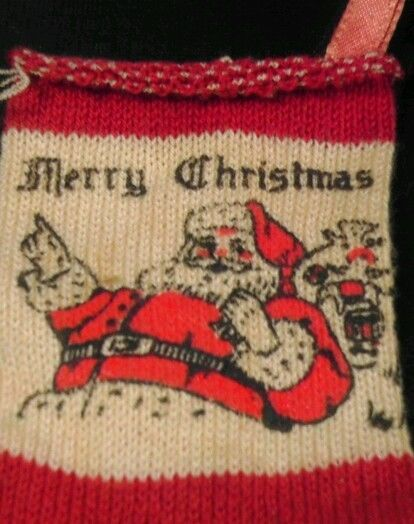 Vintage Christmas knit stocking Santa Claus 1950s