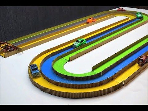 How To Make A Race Track With Magic Cars Out Of Cardboard Youtube Cardboard Race Track Magic Car Race Track