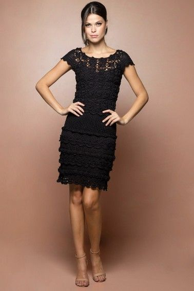 Vestido Crochet Poupee Preto - Vanessa Montoro - vanessamontoro: