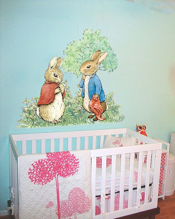 Peter rabbit and flopsy wall decal peel and stick wall - Peter rabbit nursery border ...