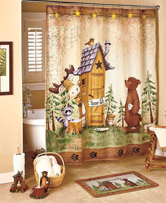 In the woods nature calls bathroom collection fun lodge for Adirondack bathroom ideas