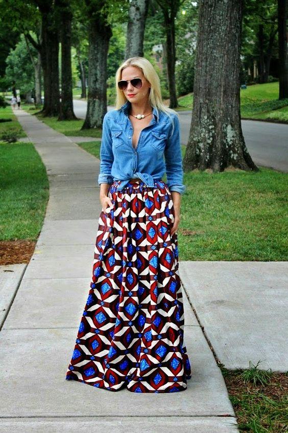 Chambray over maxi skirt/dress.