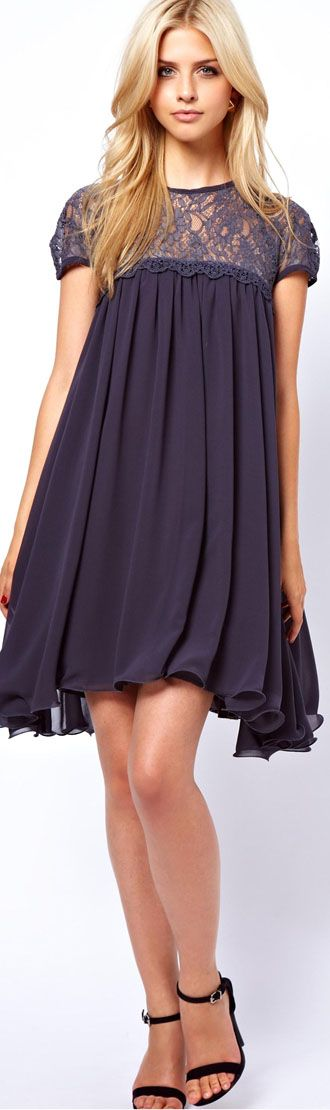 Lydia Bright Swing Dress With Mesh Lace Trim