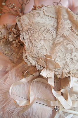 Lovely Lace Bonnet ~ Ꮗ/the slightest hint of a Blush, Satin Ribbon, so Beautiful~❥