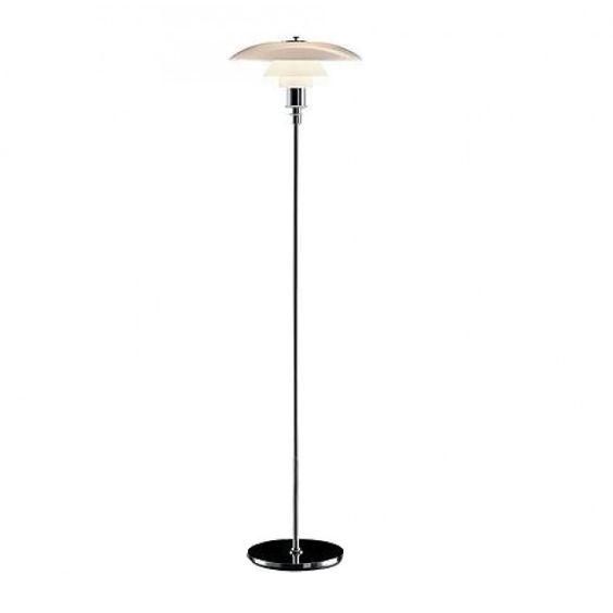 Poul Henningsen Style 'PH' 1930's Tall White Floor Lamp