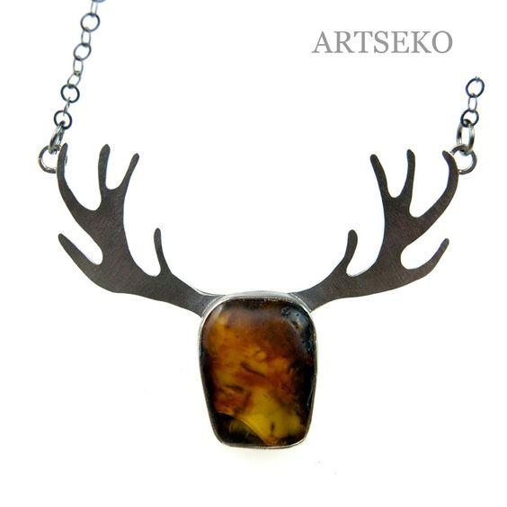 Amber reindeer silver necklace,silver necklase,Baltic amber nacklase,christmas…