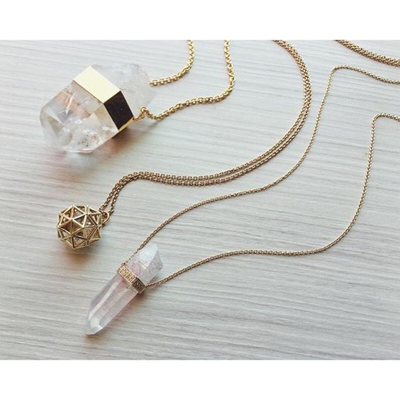 #Gold, #quartz #crystal, #diamond and #herkimer #necklaces by #JacquieAiche, nice and long for layering - available now at Elements. // #jewelry #shopping #dallas #fashion #style