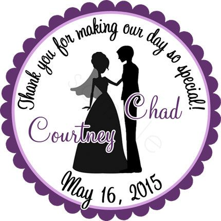 Personalized Bride and Groom Silhouette Wedding Stickers - Wedding ...