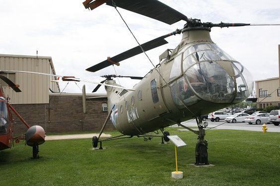 Piasecki CH-21C Shawnee at American Helicopter Museum with Sikorsky Sea King for size comparison - Joseph May.Paisecki CH-21 Shawnee, with Sikorsky H-34 Choctaw, led the way in US Army Aviation to modern helicopter tactics regarding envelopment from above as well as gunships.Shawnee was latest in tandem twin rotor design by Piasecki which would be absorbed by Boeing into Boeing Vertol – evolution leading to the CH-43 Sea Knight and CH-47 Chinook.