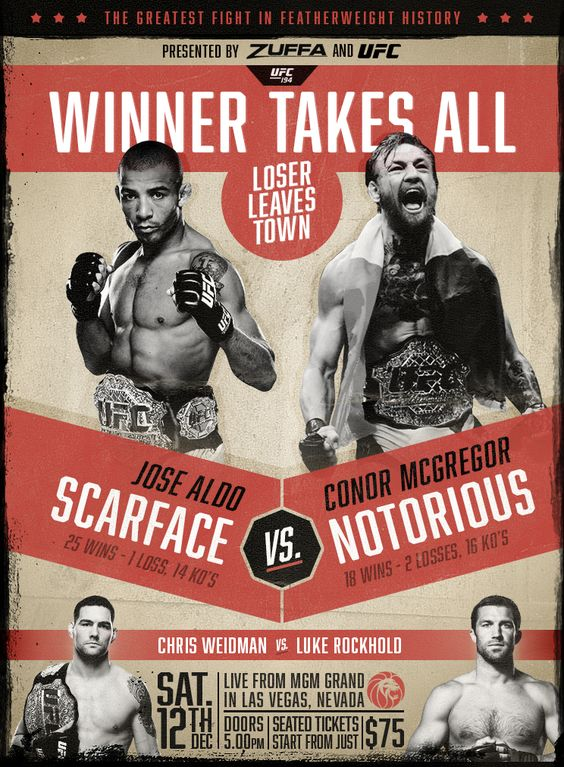 Conor McGregor vs Jose Aldo vintage style promo poster if you - ufc flyer template