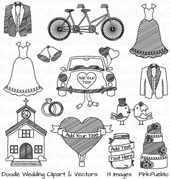 Doodle Wedding Clipart Clip Art Hand Drawn Sketched by PinkPueblo, $6.00