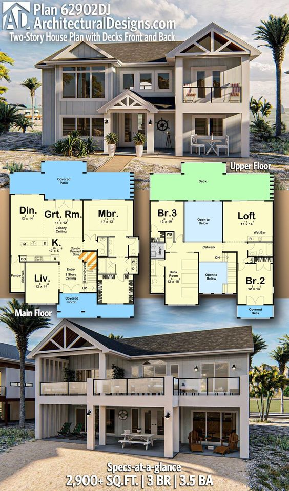 Plan 62902dj Two Story House Plan With Decks Front And Back In 2020 Coastal House Plans Sims House Plans Beach House Plan