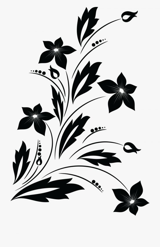 17 Floral Clipart Black And White Png Flower Clipart Png Flower Silhouette White Flower Png