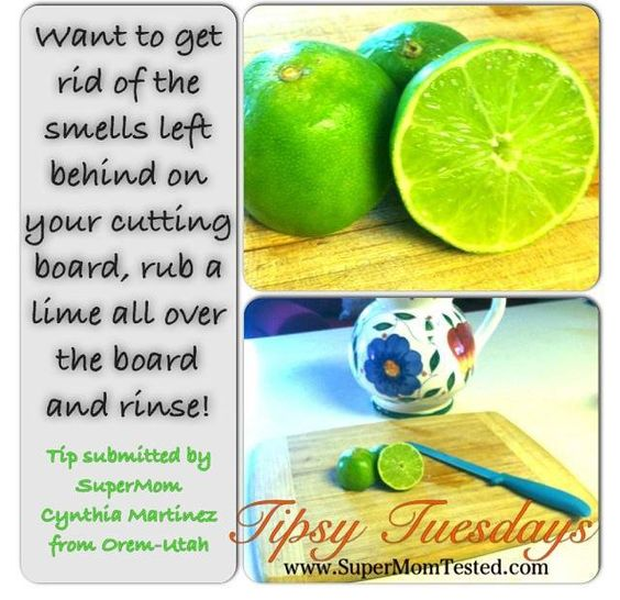 Easy way to get rid of smells left on the cutting board.