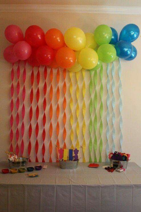 Rainbow streamers and balloons troll party party for Balloon decoration ideas at home
