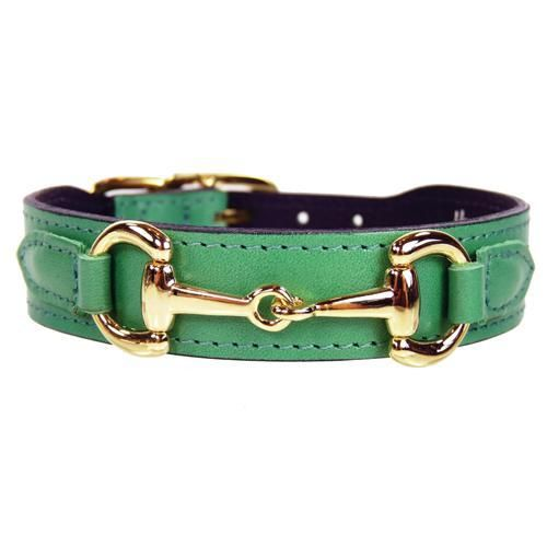 Belmont Collection Dog Collar Kelly Green Gold Luxury Dog