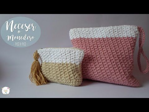 Neceser A Crochet Con Cierre O Cremallera Y Forro Youtube Ganchillo Neceser Monederos De Ganchillo Crochet Monederos