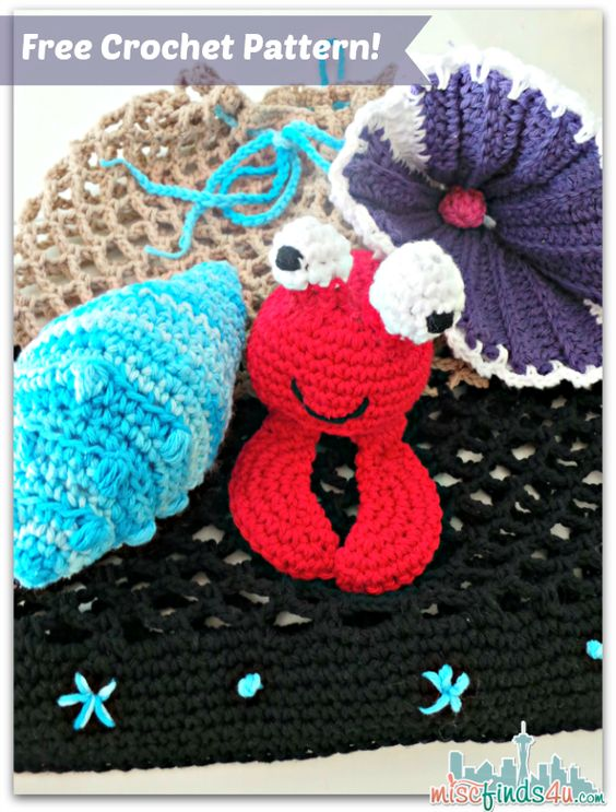Free Crochet Patterns: Beach Bag, Crab and Shell ...