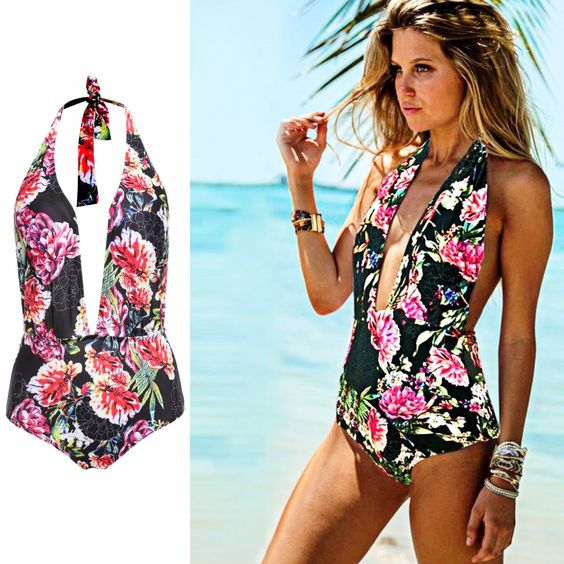 Floral One-Piece Swimsuit Unique style, create a illusion for stunning curves, make you more beautiful, fashion, sexy and elegant. Material: Polyester and Spandex, Color: Black, Collar: Halter, Style: Sexy, Back type: Backless, Pattern: Floral, Chest pad: Yes, Occasion: Beach, Swim, Bathing, Garment Care: Hand-wash and Machine washable, Dry Clean
