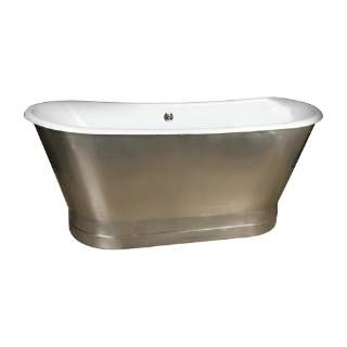 "Check out the Barclay CTBATN68MS-WH Sandburg 68"" Cast Iron Double Roll Top Tub on a Stainless Steel Skirt without Holes in White"