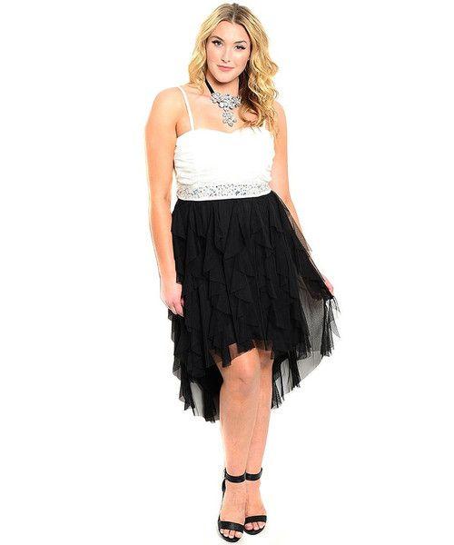 Elegant Rhinestone Embellished Formal Hi-Low Plus Size Evening Dress