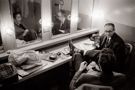 March 17, 1956. Backstage at the Dorsey Brothers 'Stage Show' rehearsal.