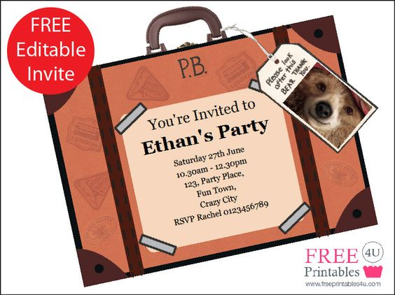 FREE Paddington Bear Printable Invitation