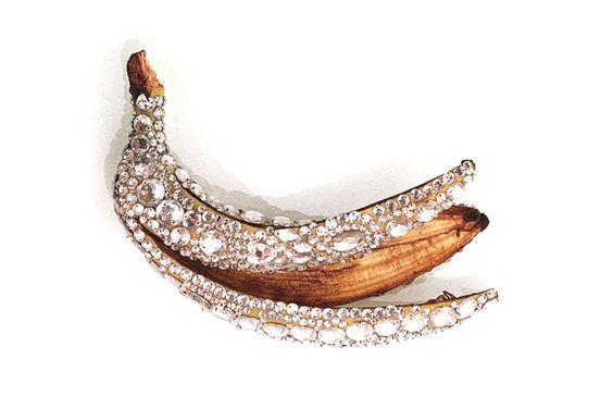 "The bejeweled, rock-chic aesthetic, rotting fruits of the argentinian artist Luciana Rondolini are amazing. In her project ""Tiffany"" she interrogates and explores the idea of beauty and value in a unique way. She draws parallels to real life by encrusting with diamonds pears, apples and bananas while the decaying inner flesh is deliberately exposed. Interesting."