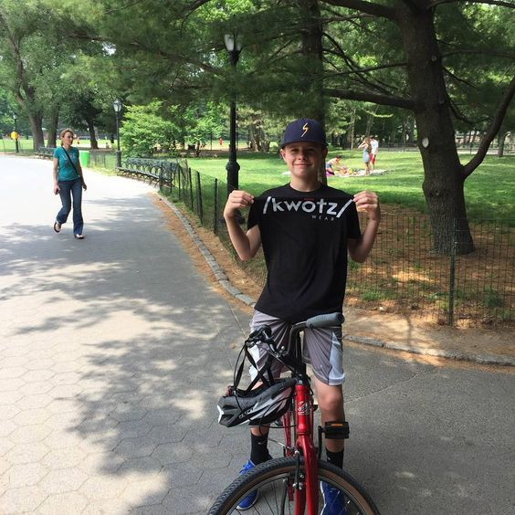 Looking good wearing our black /kwotz/ tshirt #centralpark #bike #shirt #cool #life #summer #boy