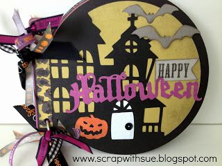 Halloween Circle Mini-Album, CTMH Cricut Artbooking, more photos & directions at: www.scrapwithsue.blogspot.com