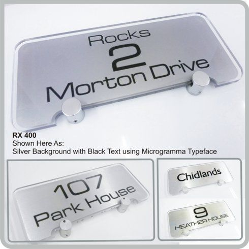 RX400 Modern Glass Acrylic Address House Signs for the Home from De-signage