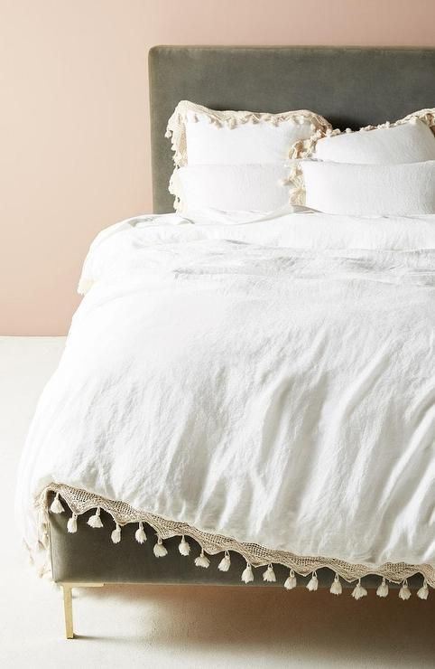 White Cotton Lace Edge Tassel Trim Duvet Cover Home Decor Bedding Affordable Bedding Sets Luxury Bedding