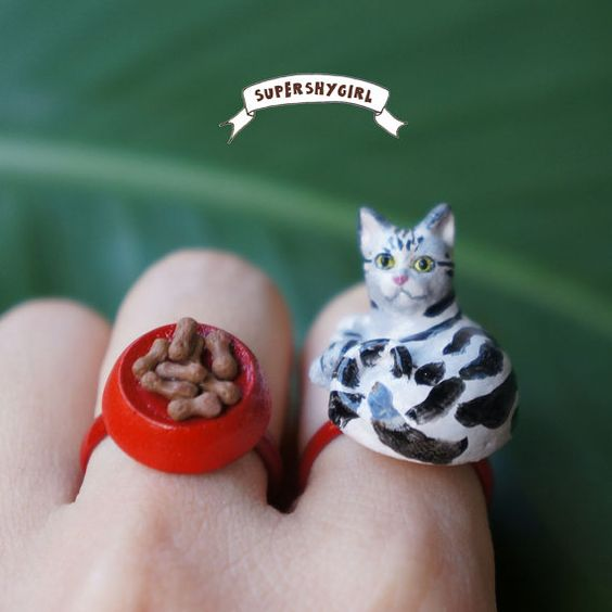 American Shorthair and Food Ring by supershygirl on Etsy, $25.00