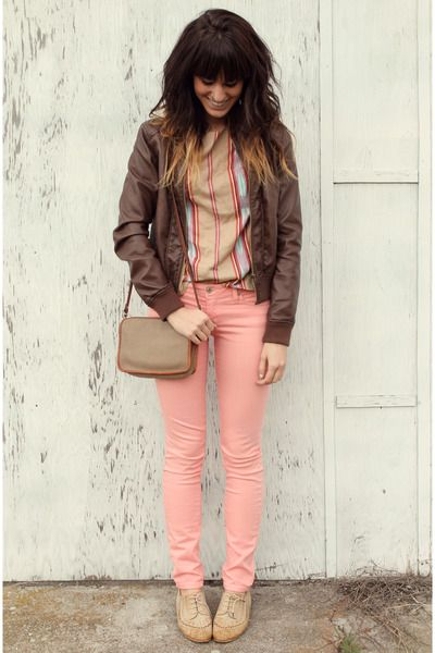 Camel-le-bunny-bleu-shoes-coral-jeans-dark-brown-mossimo-jacket-tan-top