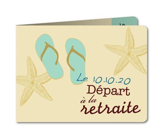 Carte invitation départ retraite Tongs (B-468-RC1)                                                                                                                                                                                 Plus