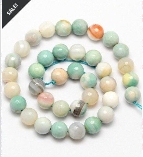 Amazonite Fire Agate Faceted Round Beads 8mm 12mm 14mm Etsy Round Beads Fire Agate Gemstone Beads