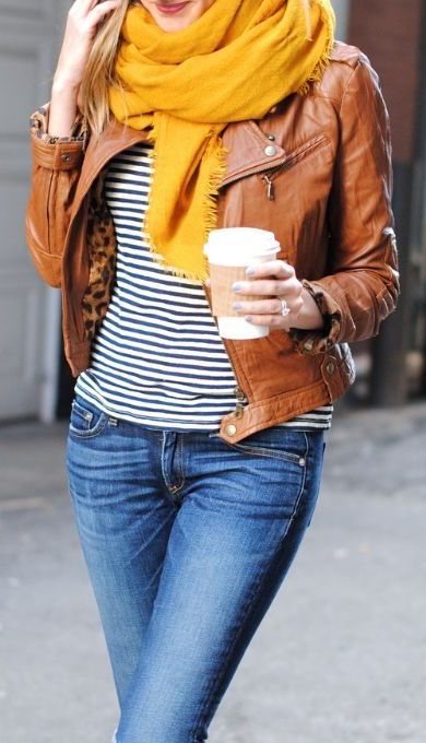 #fall #fashion / leather + mustard scarf: