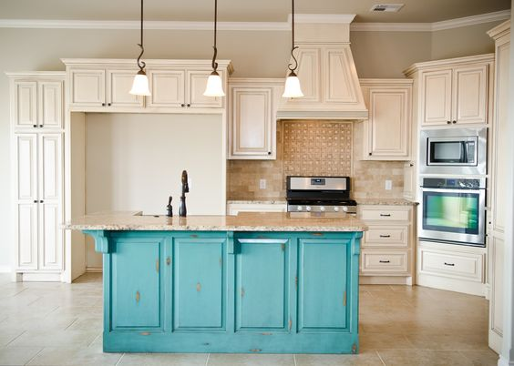 turquoise kitchen island distressed turquoise island with glazed cabinets 2969