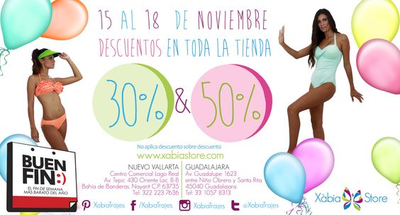 Ya viene el #BuenFin aprovecha nuestros descuentos en #bikinis, además de que tenemos nuevos modelos que te encantarán, ven a nuestras tienda del 15 al 18 de noviembre y prepárate para tus próximas vacaciones. #Guadalajara #NuevoVallarta
