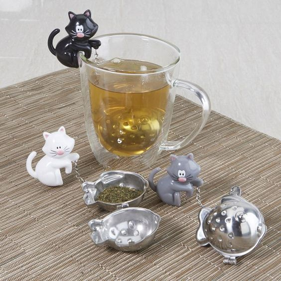 """I NEED a tea infuser, and after several minutes looking I've found the purrrrrfect one for me!! Sevy Pekoe Tea Infuser Cat and Fish """"meow"""" Asstd.   Kitchen Stuff Plus"""