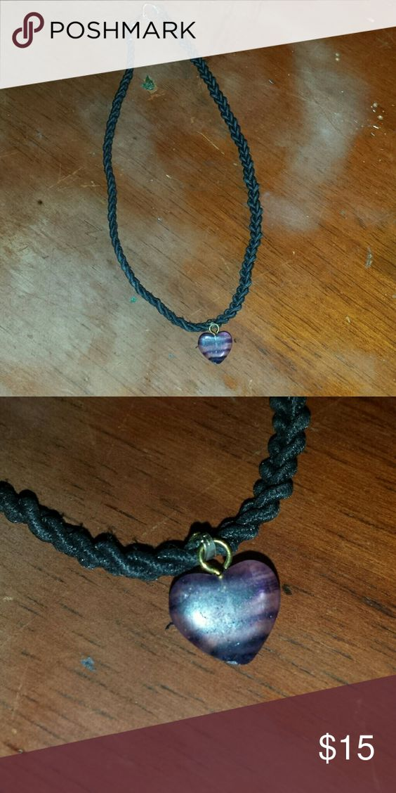 Heart pendant necklace Stretchy material/choker like. Purple striped heart pendant. Jewelry Necklaces