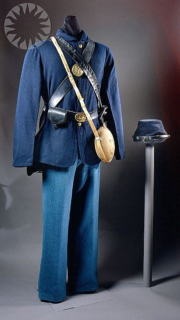 1. This Civil War uniform was worn by the Union infantry. Mass-production of men's clothing began due to the Civil War and the use of machines to create the uniforms. {American Civil War - Union Infantry Uniform}: