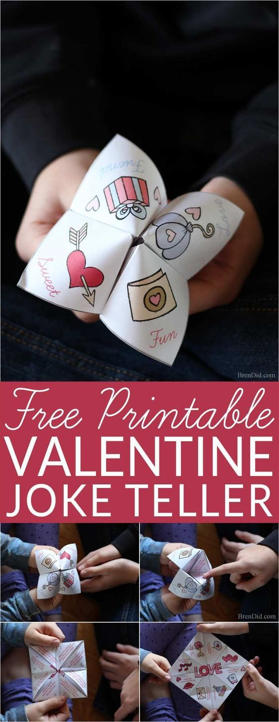 Free Valentine printable for kids! Silly joke teller (fortune teller, cootie catcher) filled with kid friendly Valentine jokes. #Valentine #JokeTeller #valentines #craftsforkids #valentinesforkids