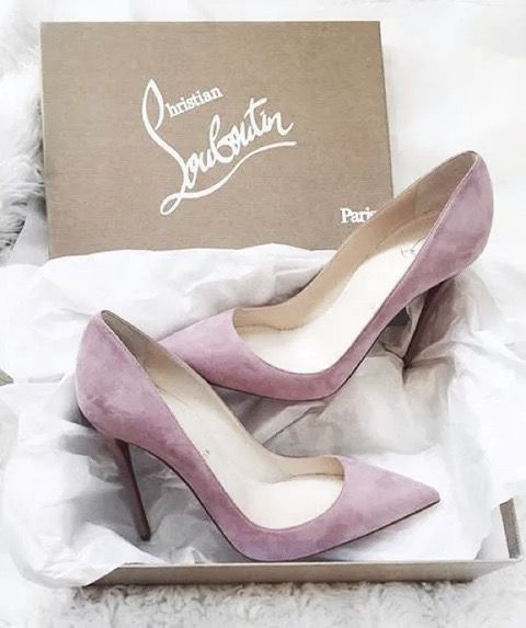 Christian Louboutin Suede Leather Pumps + Lilac