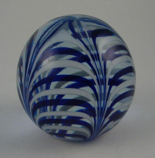 """Signed Art Glass Paperweight. Signed """"MMA"""". Cobal"""
