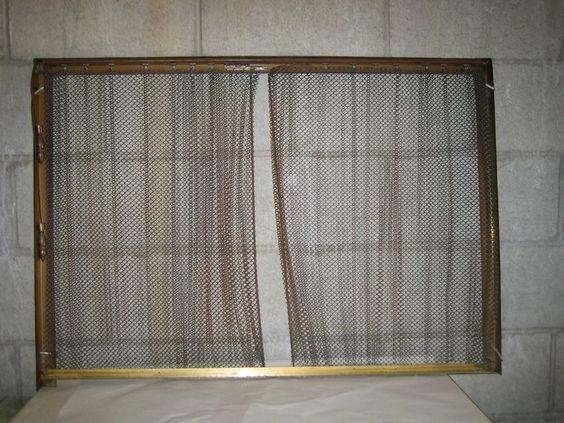 VTG Golden Brass Fireplace Screen w Metal Chain Mail Curtain ...