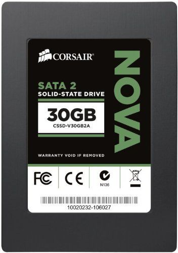Corsair Nova Series 2 30GB  (3Gb/s) SATA 2 SF2200 controller Asynchronous SSD (CSSD-V30GB2A) by Corsair. $65.25. Fast performance - Quicker boot up, faster application loads and dramatically better system performance than traditional hard drives.  Silent operation -No moving parts means zero noise and high reliability. Low power-Extend battery life for notebook users. Compatible - Works with standard SATA 3Gb/s (SATA 2) systems. Backed by Corsair - A respected name with ...