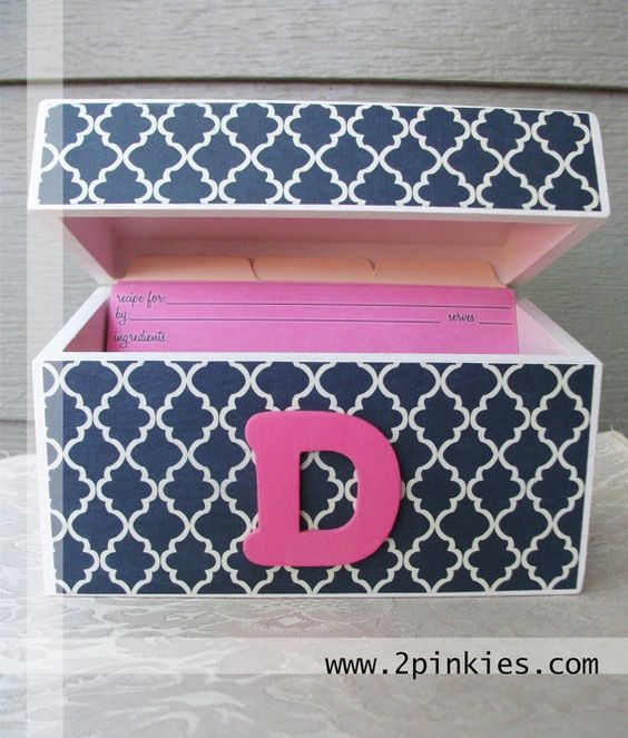 Navy and Pink Quatrefoil Recipe Box with 4x6 Recipe Cards by TwoPinkies, $28.99