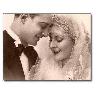 Noivos do casamento vintage cartão postal